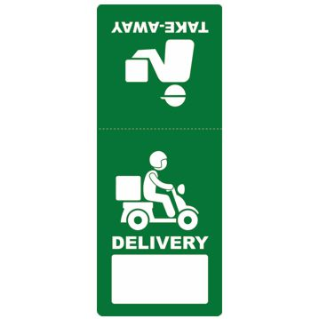 Delivery and Take-Away Label Sticker 60x150mm Rolls 1000 pcs