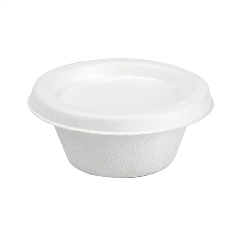 Sugar Cane Cup for Sauces -  White 60ml 69x30mm + Lid 20x50pcs