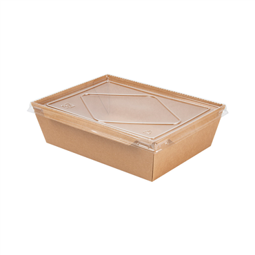 Envase rectangular de Kraft 220/195x164/140x65mm 2100ml 70oz + Tapa PET 200uds
