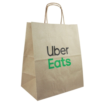 Brown Paper Bag with Twisted Handle 270x160x310mm UberEats 250pcs